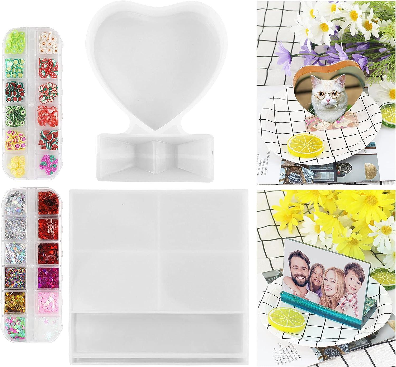 Zsroot 2 marcos de fotos de resina con forma de corazón, forma rectangular y de silicona, resina epoxi, para bodas, cumpleaños, DIY, marco personalizado, forma del hogar
