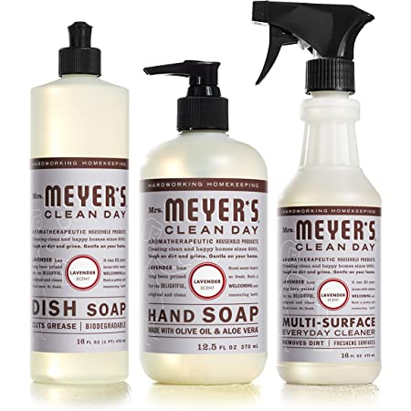 Mrs. Meyer's Clean Day Kitchen Essentials Set, Includes: Hand Soap, Dish Soap, and Multi-Surface Cleaner, Lavender Scent, 3 Count Pack