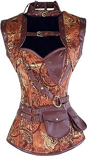 Women's Steampunk Spiral Steel Boned Vintage Retro Corset Tops Bustier