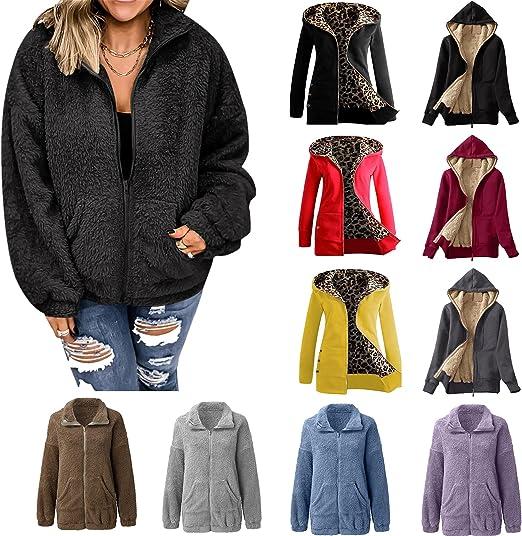 Women Winter Hoodie Jacket, Plus Size Faux Fur Leopard Print Lined Coat Long Sleeve Zip Vest Rain Coats Warm Windbreaker