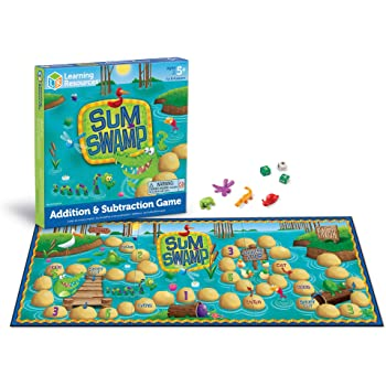 Learning Resources Sum Swamp Game, Homeschool, Addition/Subtraction, Early Math Skills, Math Games for Kids, Educational Board Games, 8 Pieces, Ages 5+