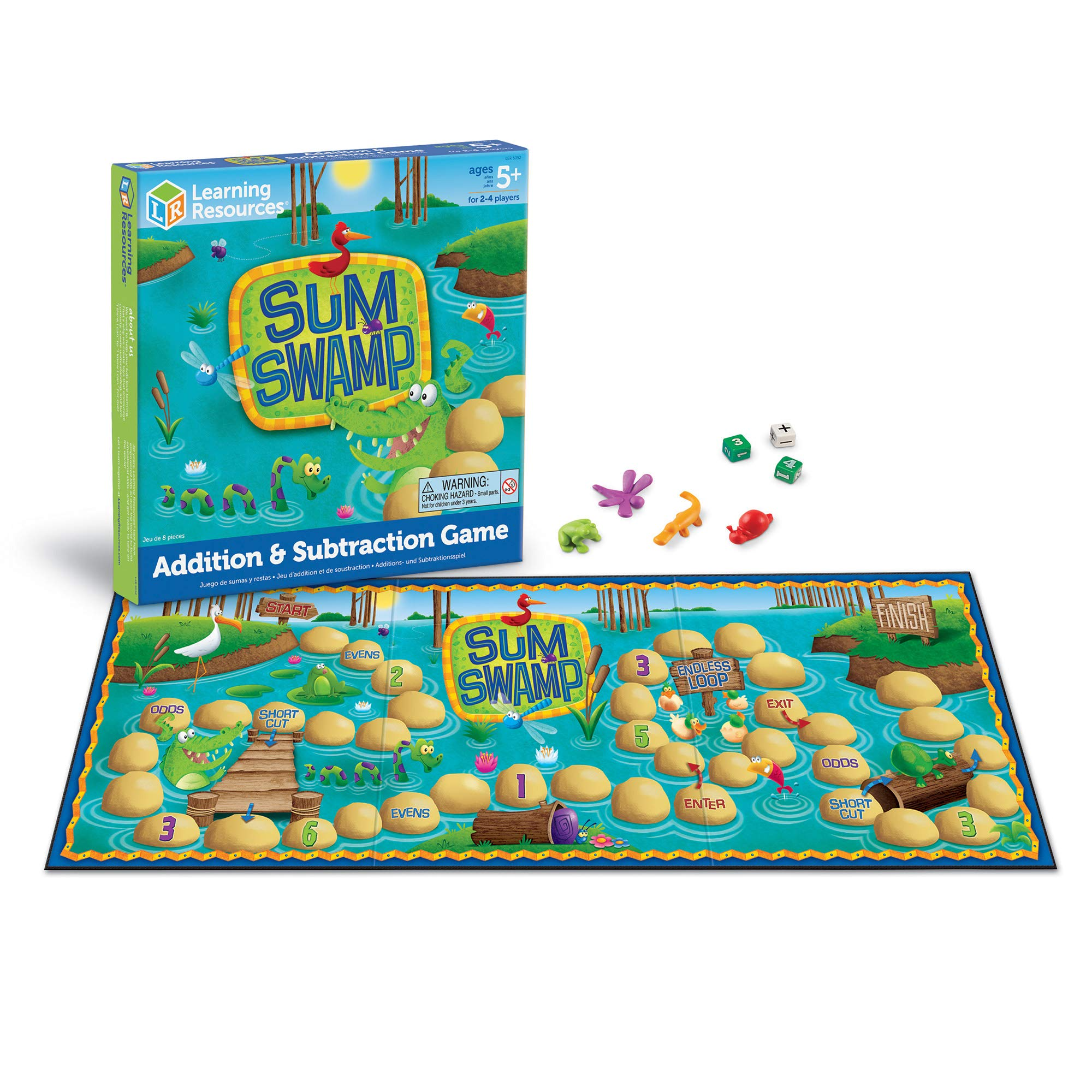 Amazon Com Learning Resources Sum Swamp Game Homeschool Addition Subtraction Early Math Skills Math Games For Kids Educational Board Games 8 Pieces Ages 5 Office Products