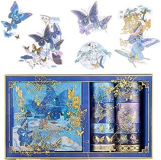 Diealles Shine Bronceado Washi Tapes Set, 10 Rollos Washi Tapes con 10 Hojas de Pegatinas, Cinta Adhesiva Decorativa para ...