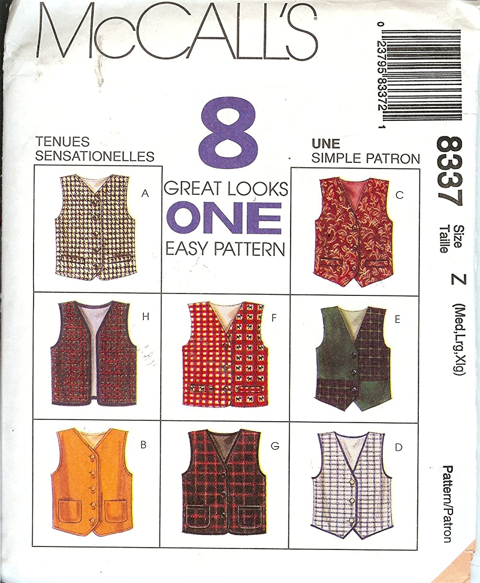 McCall's 8337 Sewing Pattern Boys Girls Lined Vests Size 7 - 14