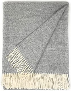 Inca Fashions 100% Pure Baby Alpaca Eco Herringbone Sofa Throw Blanket, 71