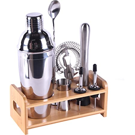 MAISON HUIS Bartender Kit 8-Piece Bar Tool Set with Stylish Bamboo Stand Perfect Home Bartending Kit and Martini Cocktail Shaker Set For an Awesome Drink Mixing Experience (Silver)