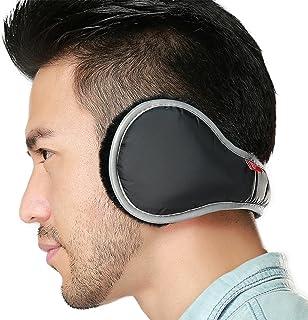 Ear Warmers Waterproof Unisex Adjustable Fleece Earmuffs for Men Women Winter Ear Muffs with Reflective Stripe