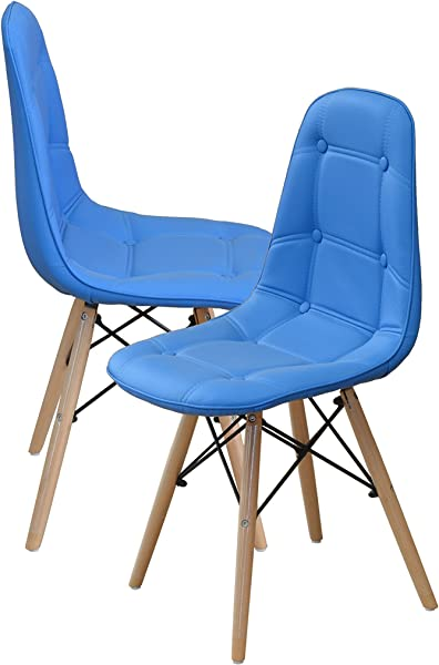 Modern Set Of Tufted 2 Eames Style Chair Natural Wood Legs Sky Blue