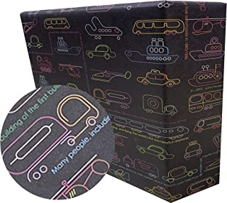 eVincE gift Wrapping Paper Kids Birthday boy   Car Facts Wrap   Pack of 25 thick matte recyclable sheets   70 x 50 cms siz...