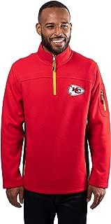 Ultra Game NFL Men's Quarter-Zip Fleece Pullover Sweatshirt with Zipper Pockets