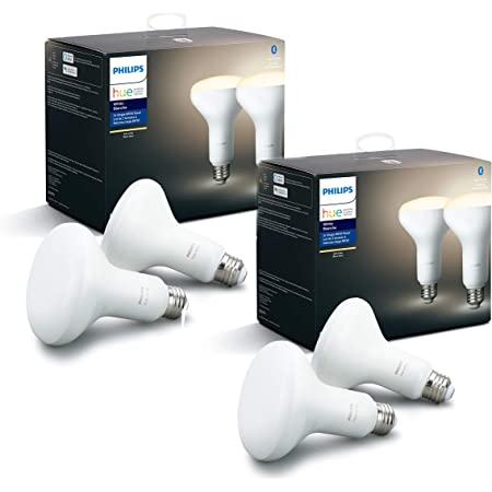 Philips Hue White Smart BR30 Bulbs with Bluetooth, Hue Hub Compatible- 4 Pack, 538173-4