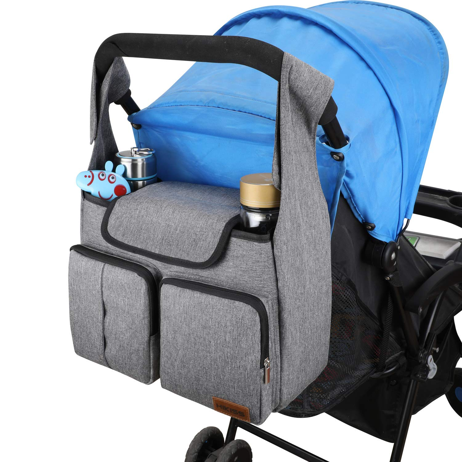 HIKISS Baby Stroller Organizer with Cup Holders-Light Gray