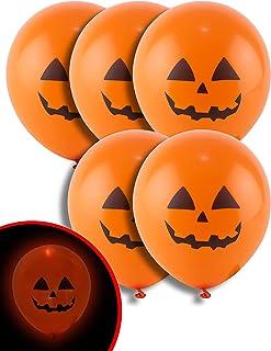 5 Ballons citrouille orange LED 21 cm Halloween - Taille Unique