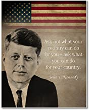 Gabby's Choice John F Kennedy Famous Quote - Ask not What Your Country can do Art Print - 11 x 14 Unframed Wall Art Print - Great Inspirational Patriot Quote