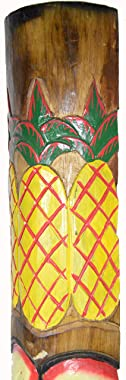 """WorldBazzar 40"""" Clearance! Hand Carved Welcome 3 Pineapple Polynesian Hawaiian Tiki Style MASK Scratch and DENT Sale!!!"""