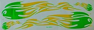 DD Grosse Flammen grün gelb Sticker Aufkleber Folie 1 Blatt 530 mm x 170 mm wetterfest Motorrad Fahrrad Skateboard Auto