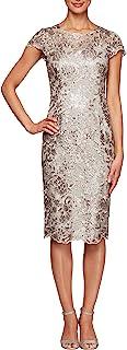 Alex Evenings Women's Midi Length Embroidered Dress