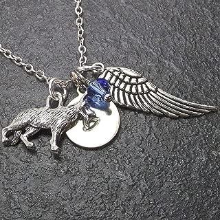 Personalized German Shepherd Dog Angel Wing Necklace with Swarovski Crystal and Custom Initial Charm Memorial Jewelry