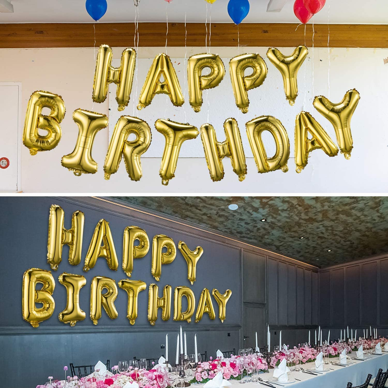Inflatable Party and Event Decor for kids and Adults 16 Inch Aluminum Mylar Foil Letters for Decoration Blue Happy Birthday Balloons Banner Ecofriendly Material Reusable