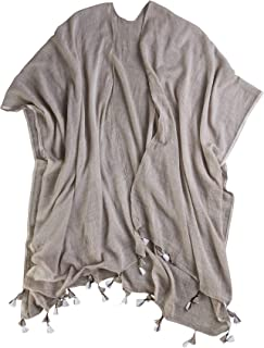Luxury Cotton Tassel Wrap with Bag - Lightweight Cotton (Scarf, sarong, or dress cover-up)