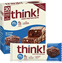 think! (thinkThin) High Protein Bars - Brownie Crunch, 20g Protein, 0g Sugar, No Artificial Sweeteners, Gluten Free, GMO Free, 2.1 oz bar (30 Count - packaging may vary)