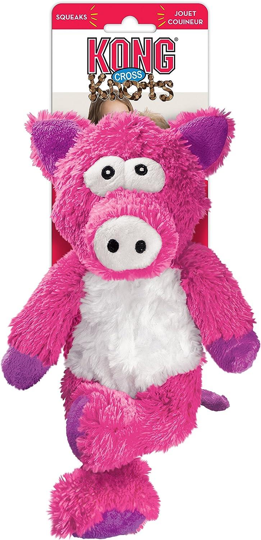 Kong Cross Knots peluche chirriante perro masticar juguete – cerdo
