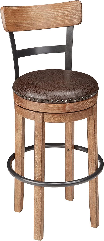 Signature Design by Ashley Furniture-Pinnadel Swivel Bar Stool-Pub Height-Light Brown