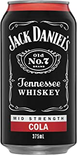 Jack Daniel's Tennessee Whiskey and Cola Mid-Strength 375 ml Premix Cans (Pack Of 24)