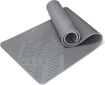 "JELS yoga mat - 12mm Printed designs Extra Thick non slip TPE Exercise Mats for men & women with carrying strap, workout mat for All Types of Yoga, Pilates, gym, & Floor home fitness- (6' L x 2"" W x 12mm Thick)"