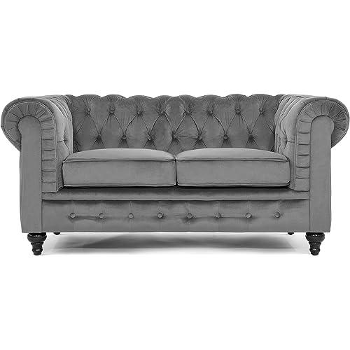 Divano Roma Furniture Classic Scroll Arm Loveseat Velvet Furniture Decor