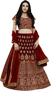 584812377e Ethvilla Women's Pure Silk Embroidered Semi stitched Lehenga choli with  Dupatta