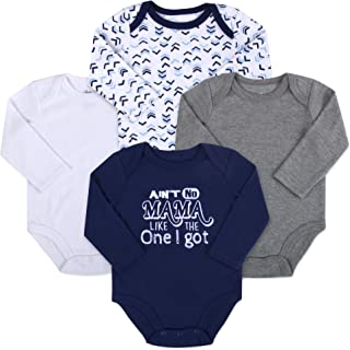Baby Essentials Long Sleeve Cotton Baby Bodysuit Layette Set for Girls and Boys with Snap Crotch – 4 Pack