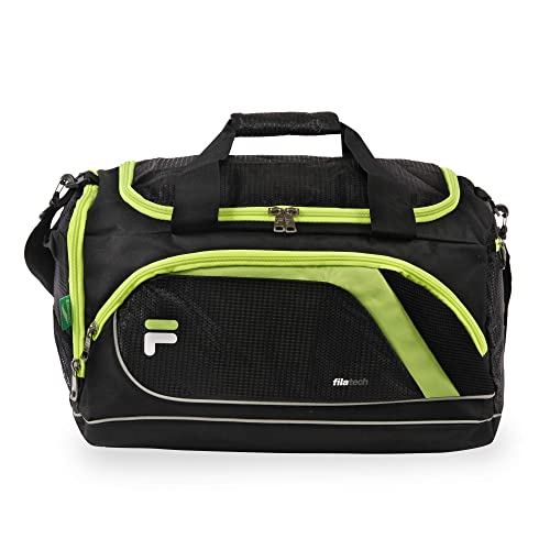 Fila Advantage Small Travel Gym Sport Duffel Bag, Black Lime e020e7277b