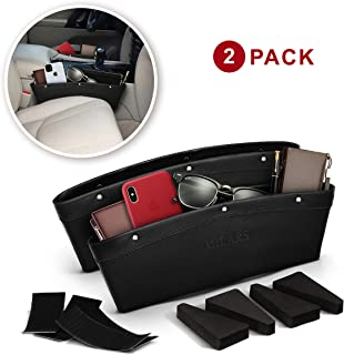 Car Seat Gap Filler - Car Seat Gap Organizer & Storage Pockets for Car Front Seat with PU Leather - Car Seat Console Organizer Adjust Black Drop Pocket with 2 Strips Hook and Loop & 4 Spacers - 2 Pack