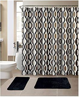 All American Collection 15-Piece Bathroom Set With 2 Memory Foam Bath Mats and Matching Shower Curtain | Designer Patterns and Colors (Helix Black)