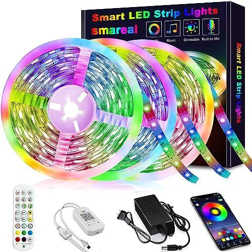 50ft Led Strip Lights, smareal Led Lights Strip Music Sync Color Changing Led Strip Lights App Control and Remote Led...