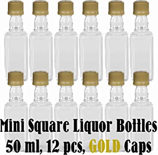 Mini SQUARE Plastic Alcohol 50ml Liquor Bottle Shots + GOLD Caps (12)