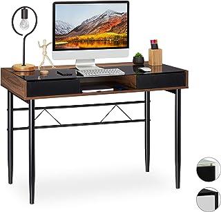 Relaxdays Bureau, câble, tiroirs,Table en Verre pour pc,HlP 78x110 x 55 cm différentes Couleurs, Panneau de Particules, Fe...