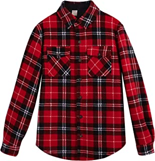 ZENTHACE Men's Warm Sherpa Lined Fleece Plaid Flannel Shirt Jacket(All Sherpa Fleece Lined)