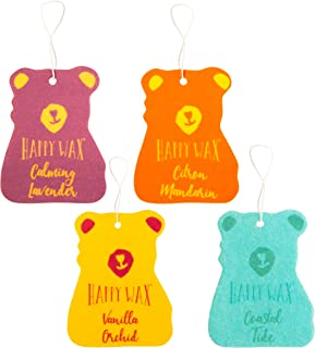 Happy Wax Scented Hanging Car Cub Air Freshener - Cute Natural Car Freshener Infused with Essential Oils! - Assorted 4-Pack (Calming Lavender, Citron Mandarin, Vanilla Orchid, Coastal Tide)
