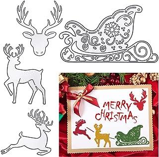 Christmas Metal Cutting Dies Deer Sledding Dies Metal Stencil Template for Scrapbook Album Paper Card Embossing DIY Crafts, 4 Styles