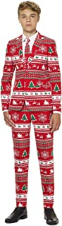 Christmas Suits for Boys in Various Prints – Ugly Christmas Sweater Costumes: Includes Jacket Pants & Tie