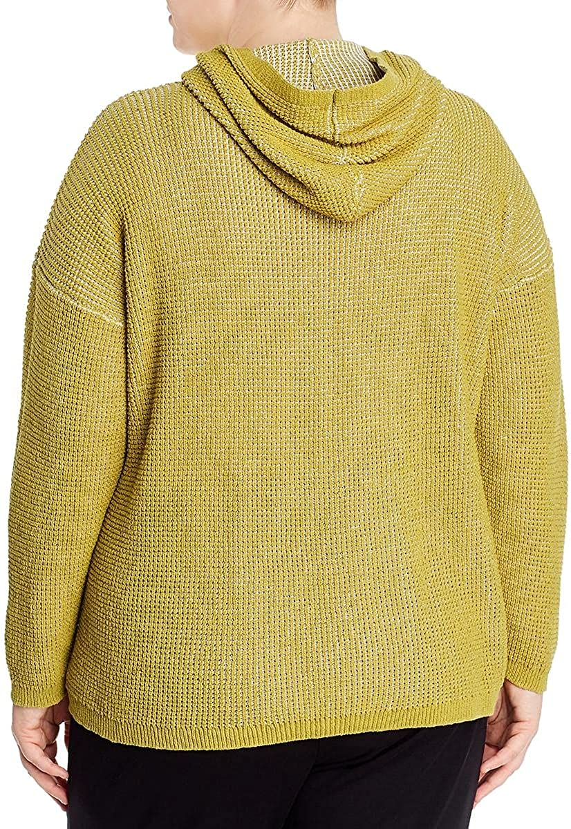 Eileen Fisher Womens Plus Boxy Textured Hooded Sweater