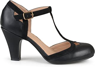 Brinley Co Womens Regular and Wide Width T-Strap Two-Tone Matte Mary Jane Pump