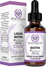 Benevolent Liquid Biotin 5000 mcg - Infused with Coconut Oil for 5X Absorption, Non-GMO & Vegan Friendly Biotin for Hair Growth Glowing Skin and Strong Nails, Hair Growth Products, Biotin Supplement
