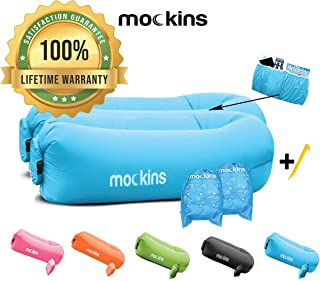 Mockins 2 Pack Blue Inflatable Lounger Hangout Sofa Bed with Travel Bag Pouch The Portable Inflatable Couch Air Lounger is Perfect for Music Festivals and Camping Accessories Inflatable Hammock … … …