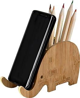 Porte-Stylo éléphant en Bois avec Support de téléphone, Fournitures de Bureau Multifonctions fabriquées à la Main, Support...