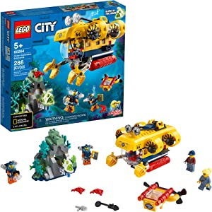 LEGO City Ocean Exploration Submarine 60264, with Submarine, Coral Reef Setting, Underwater Drone, Glow in The Dark Anglerfish Figure and 4 Explorer Minifigures (286 Pieces)