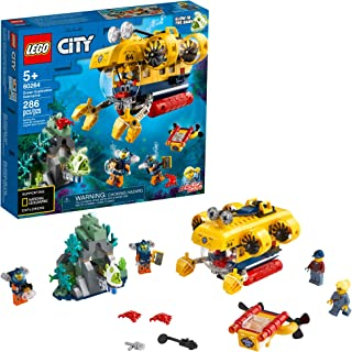 LEGO City Ocean Exploration Submarine 60264, with Toy Submarine, Coral Reef Setting, Underwater Drone, Glow in The Dark An...