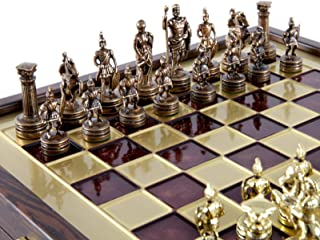 Manopoulos Greek Roman Army Chess Set - Brass&Copper - Wooden case Red Board